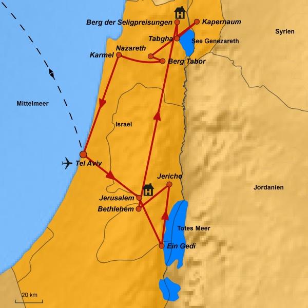 Karte Israel, Reiseroute