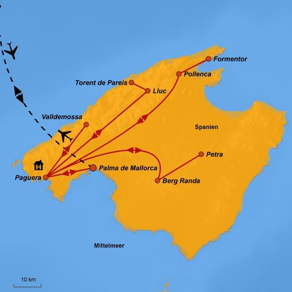 Karte Mallorca, Ihre Reiseroute, www.stepmap.de