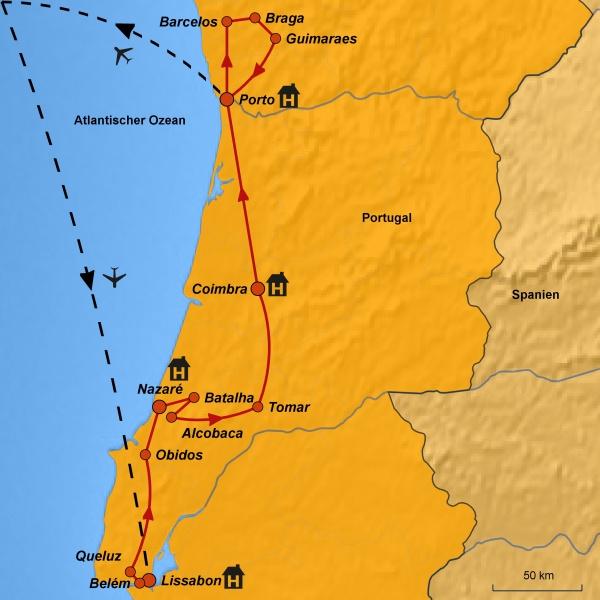 Stepmapkarte Portugal, Mögliche Reiseroute, Besichtungen Portugal