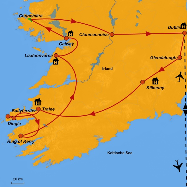 Stepmap-Karte Irland, Reiseroute, Ausflugsziele Irland