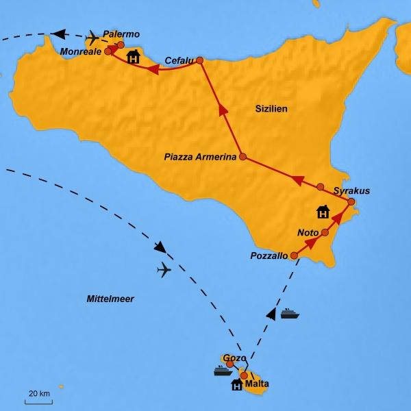 Malta, Gozo, Sizilien - Ihre Reiseroute, www.stepmap.de
