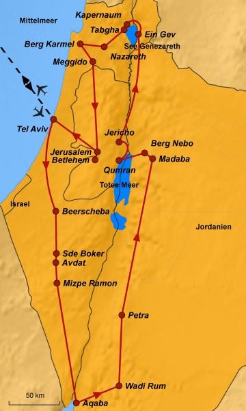 Karte Israel und Jordanien, Ihre Reiseroute, www.stepmap.de