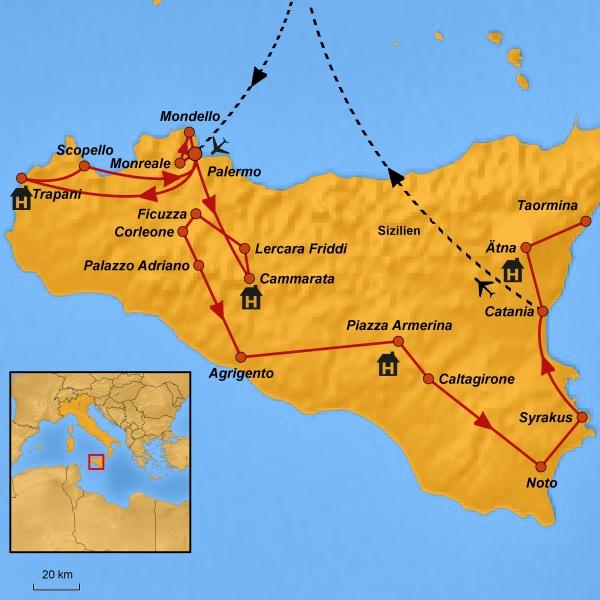 Reiseroute Bukolisches Sizilien, Rundreise Sizilien, Stepmap, Arche Noah Reisen