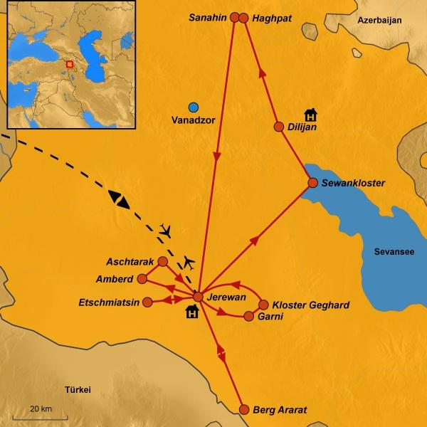 Karte Armenien, Mögliche Reiseroute, Vorschlag Gruppenreise