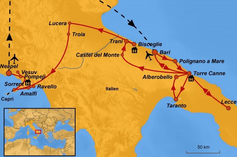 Stepmap-Karte Apulien und Kampanien