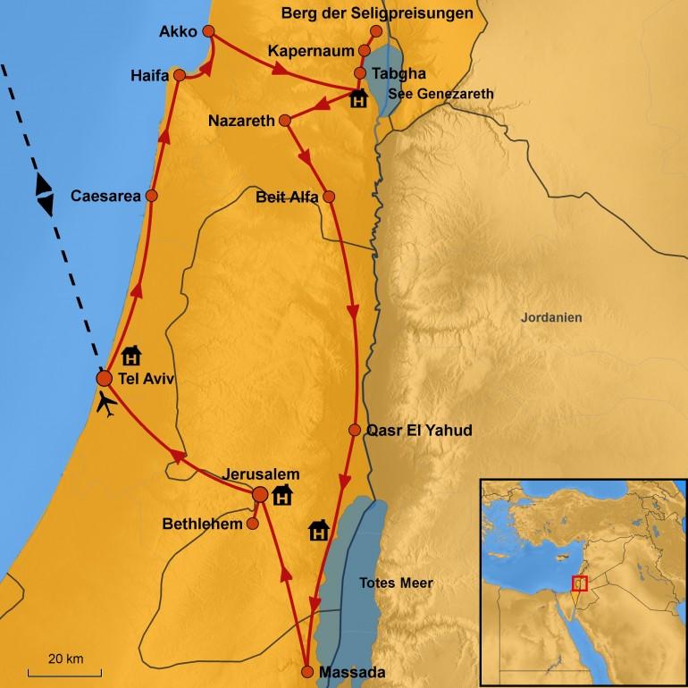 Stepmap Karte Israel - Geschichte & Kultur - Rundreise Israel - Ihre Reiseroute