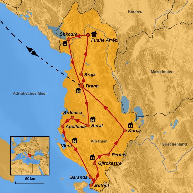 StepMap-Karte, Albanien Liebfrauen 2019