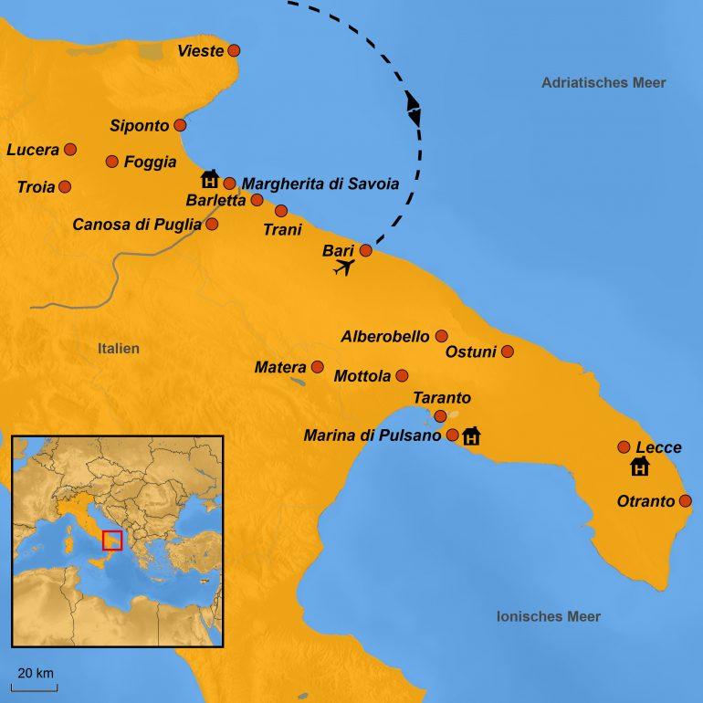 StepMap-Karte, Apulien, Ihre Reiseroute