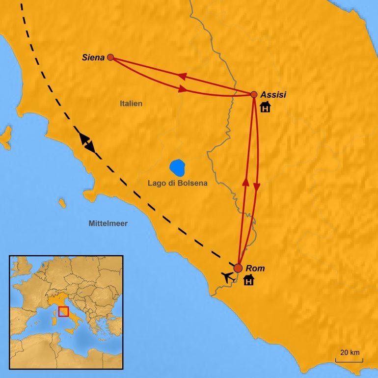 StepMap-Karte, Assisi-Siena-Rom, Ihre Reiseroute