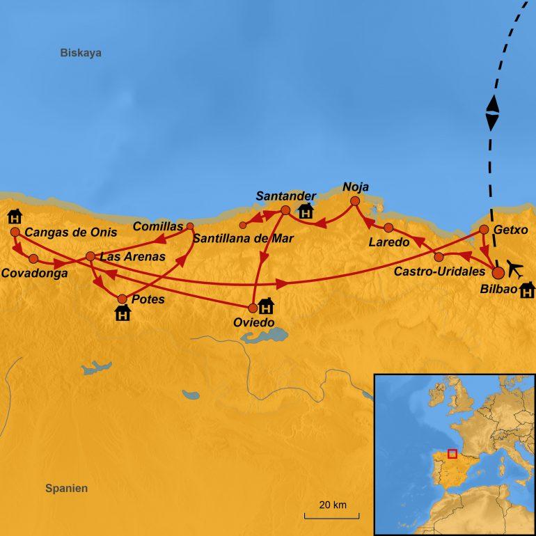 StepMap-Karte, Asturien und Kantabrien 2019, Ihre Reiseroute