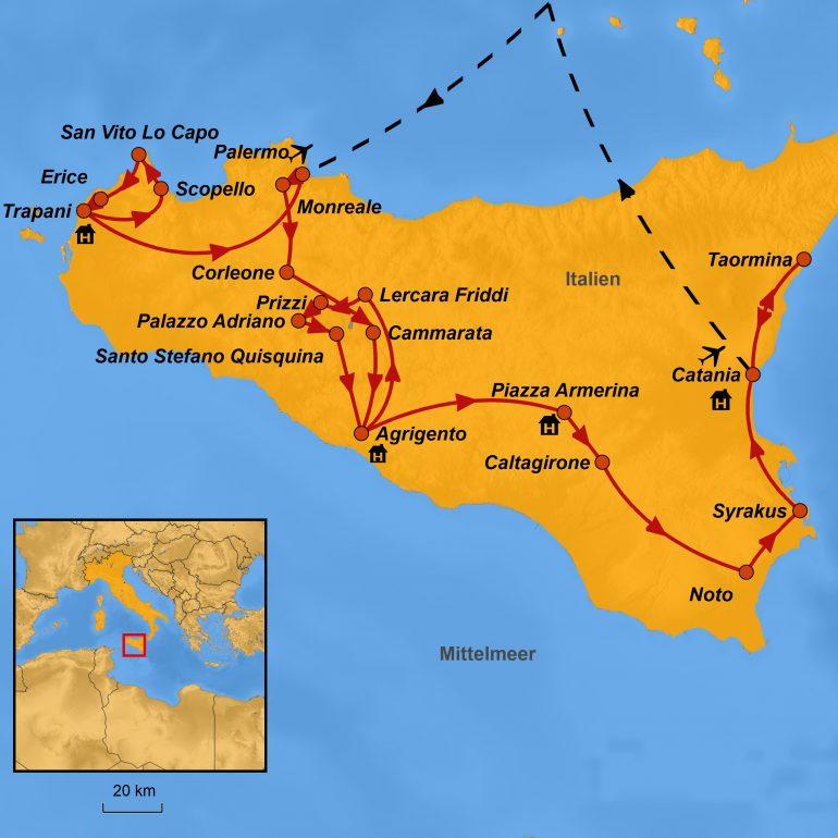 StepMap-Karte Bukolisches Sizilien, Reiseroute Sizilien