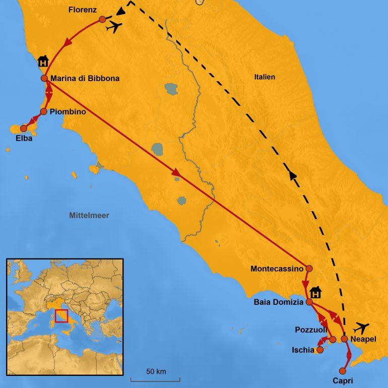 Karte Elba-Capri-Ischia, Ihre Reiseroute, www.stepmap.de
