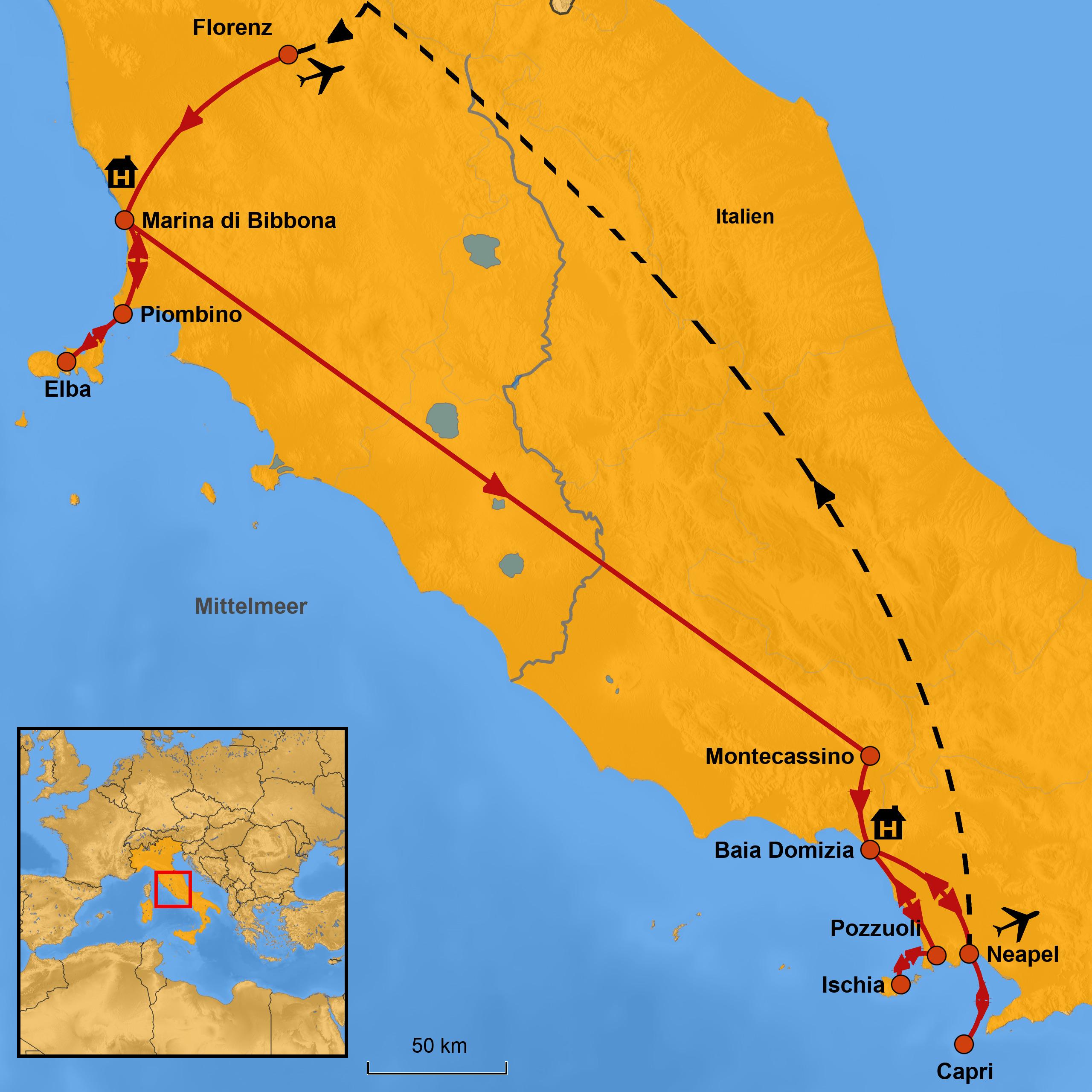 Elba Karte.Gruppenreise Elba Capri Ischia Arche Noah Reisen