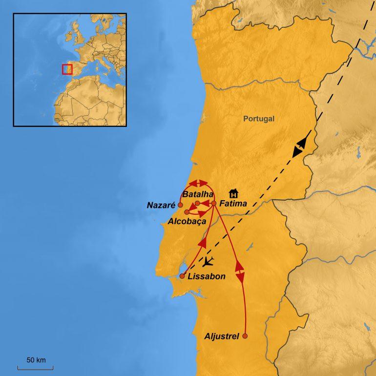 StepMap-Karte, Pilgerreise Fatima, Ihre Reiseroute