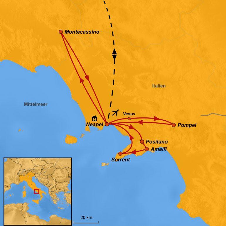 StepMap-Karte, Golf von Neapel und Amalfiküste