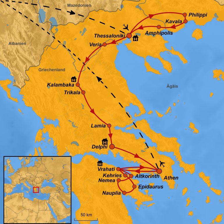 StepMap-Karte, Griechenland, Auf den Spuren des Paulus