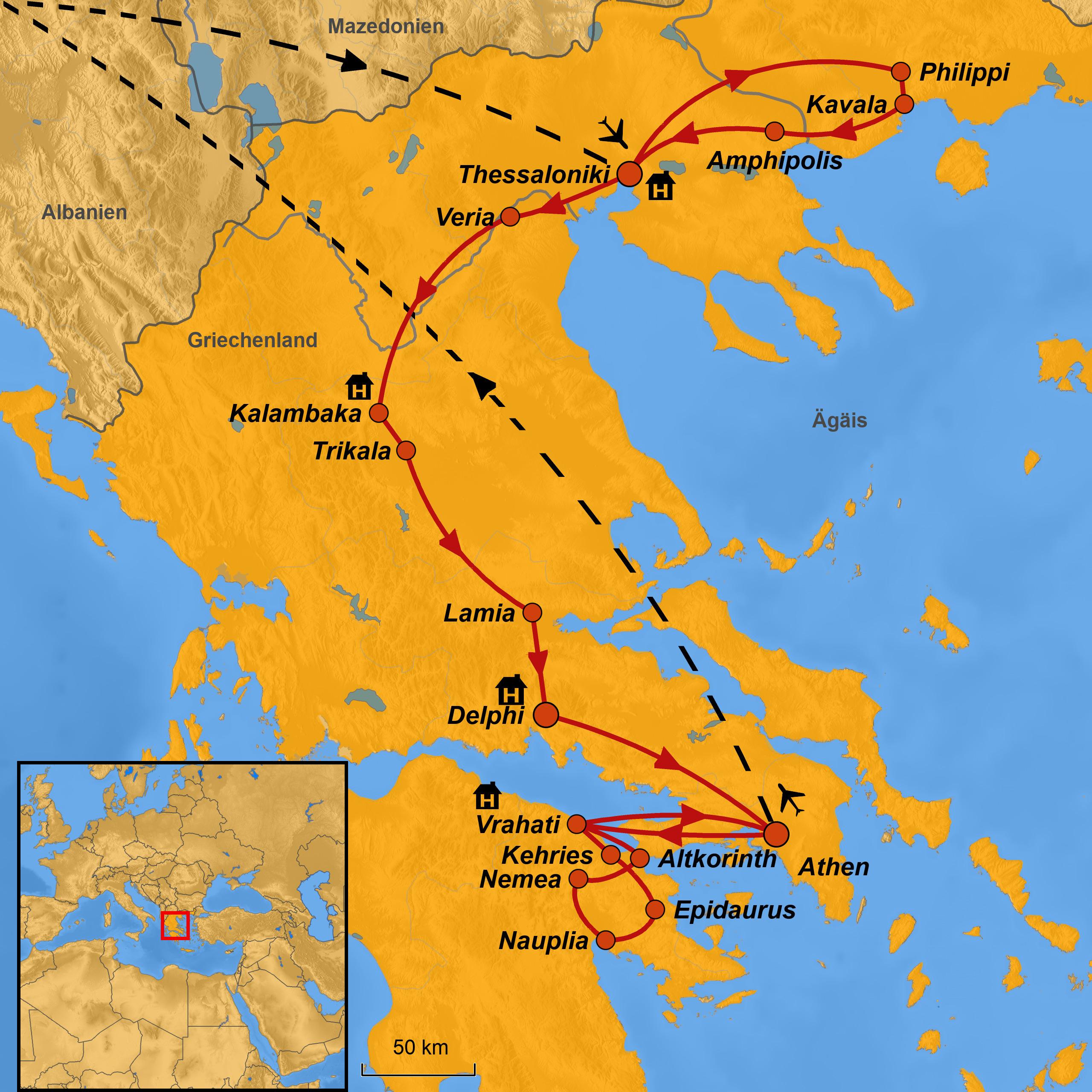 Thessaloniki Karte.Griechenland Pilgerreise Arche Noah Reisen Paulus Spuren