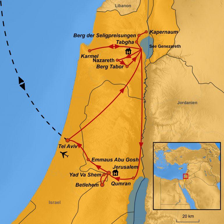 Karte Israel, Ihre Reiseroute