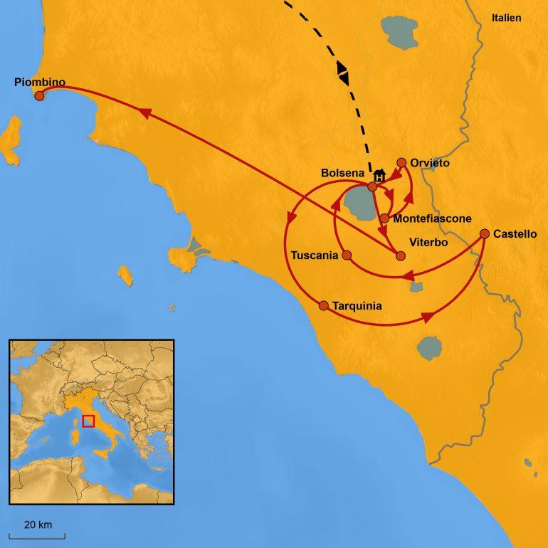 StepMap-Karte, Italien 2020, Ihre Reiseroute