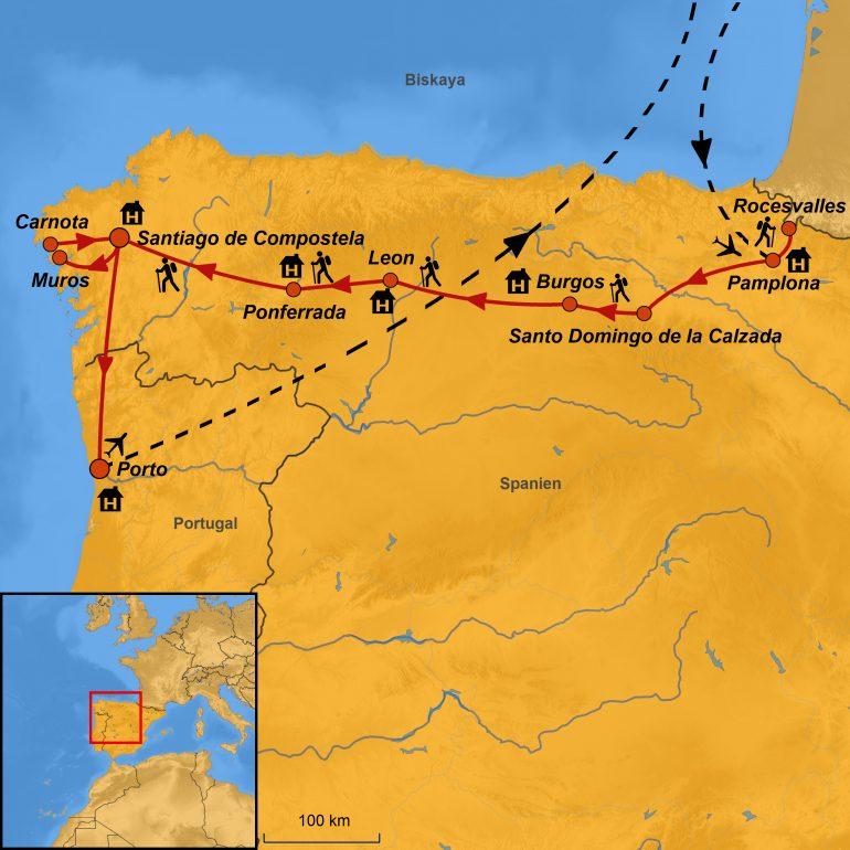 StepMap-Karte, Jakobsweg - Unterwegs nach Santiago