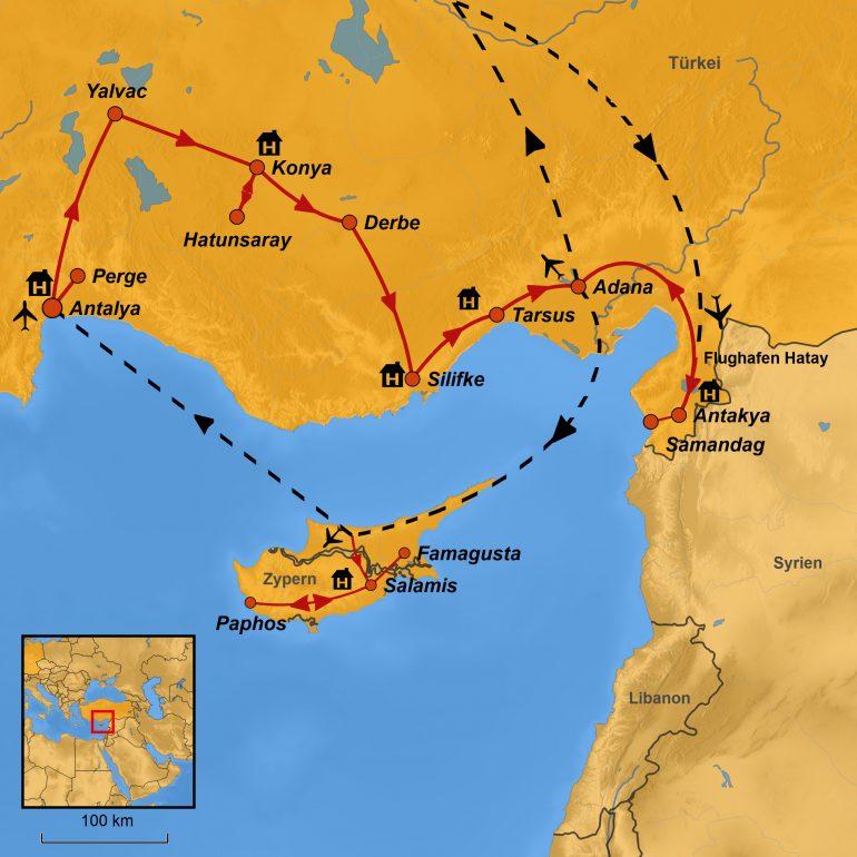 StepMap-Karte, Missionsreise Apostel Paulus 2019