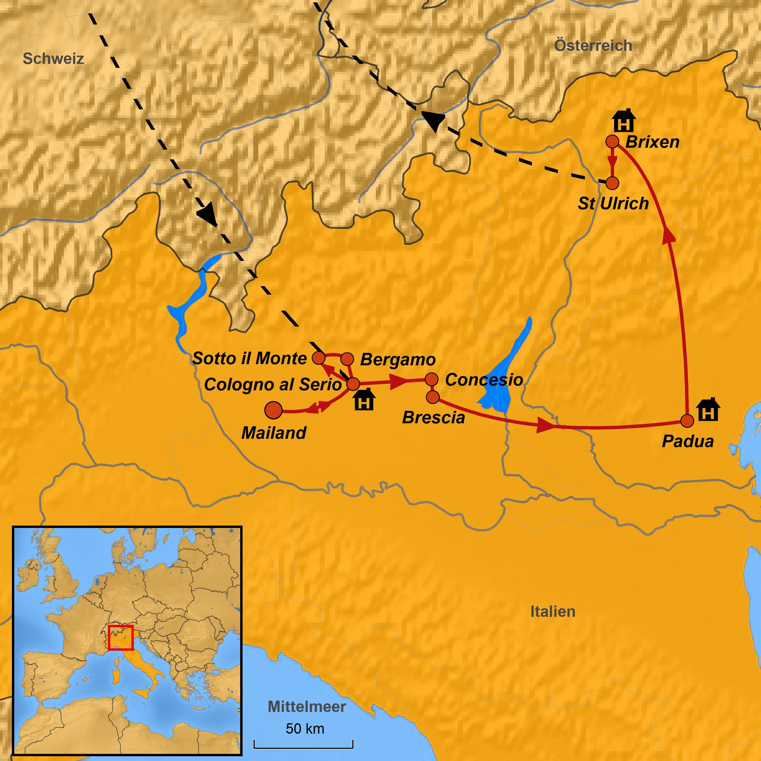 Norditalien Karte.Pilgerfahrt Norditalien Große Heilige Arche Noah Reisen