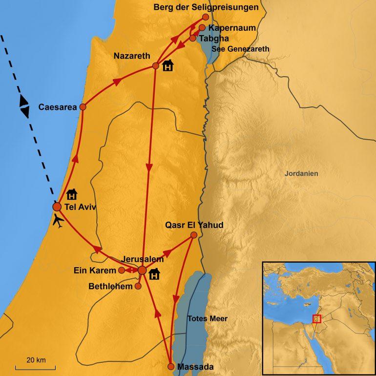 StepMap-Karte, Ostern in Israel 2019, Ihre Reiseroute