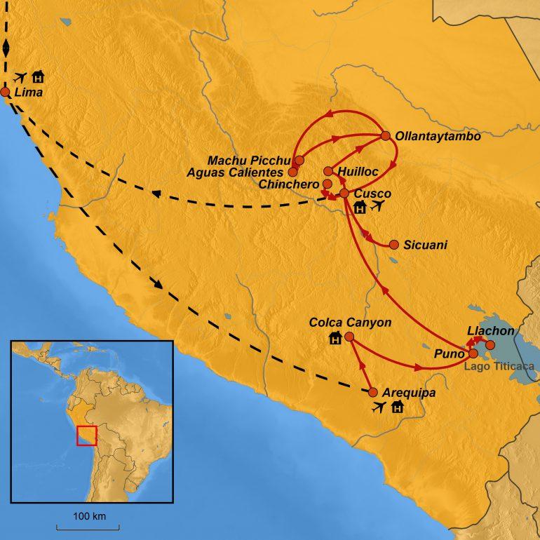 StepMap-Karte-Peru 2020, Rundreise Peru, Ihre Reiseroute