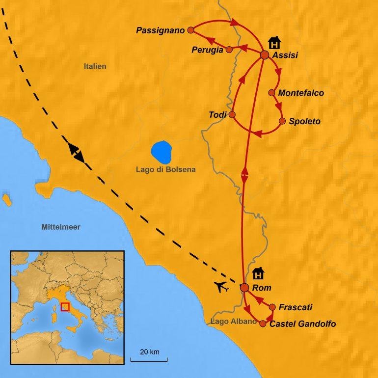 StepMap-Karte, Rom-Assisi, Mai 2019