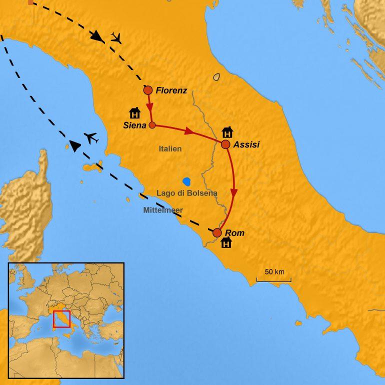 StepMap-Karte Paulinus-Leserreise 2021 Siena-Assisi-Rom