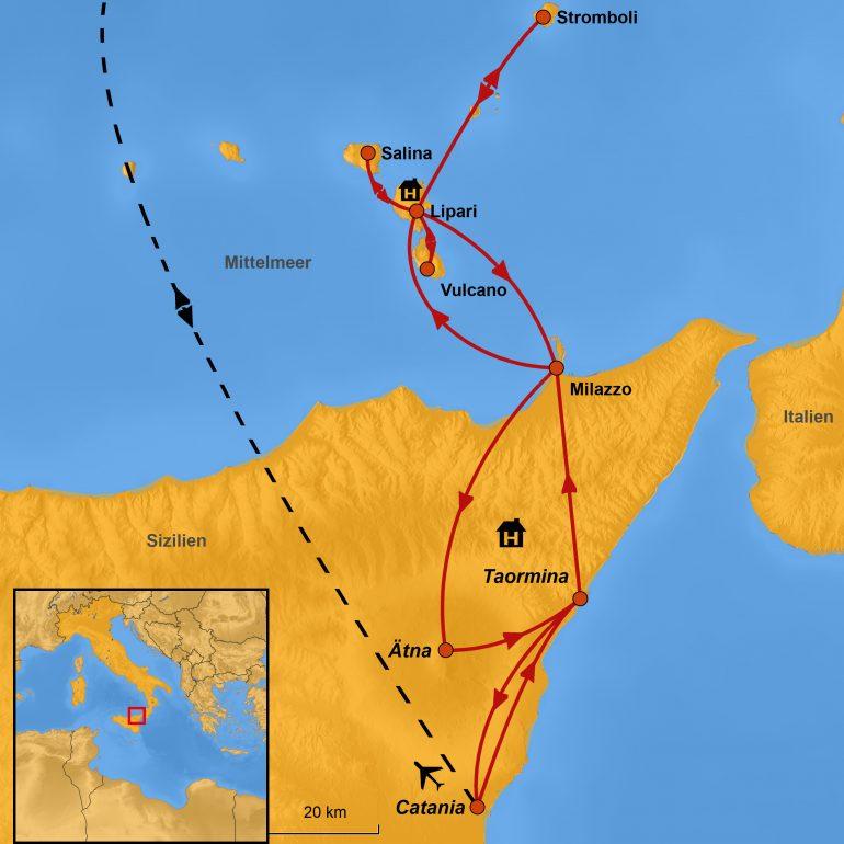 StepMap-Karte, Silizien und die Äolischen Inseln