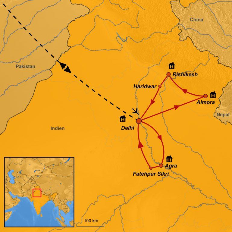 StepMap-Karte, Spirituelles Indien 2019