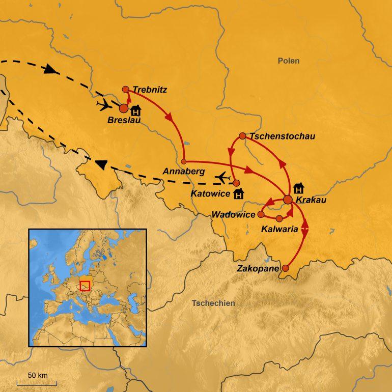 StepMap-Karte, Südpolen, Reiseroute Polen