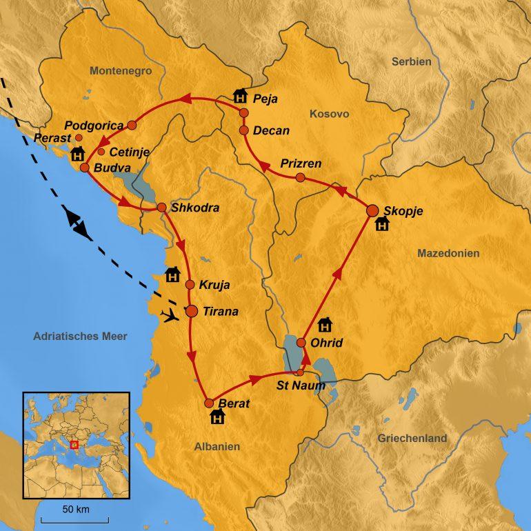 StepMap-Karte, Unentdeckter Balkan, Reiseroute
