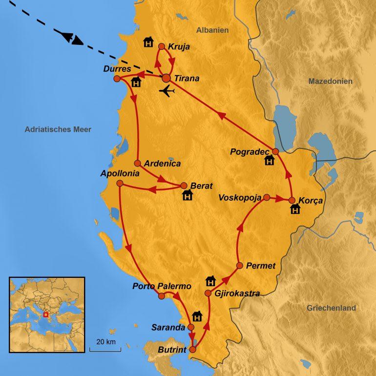 StepMap-Karte, Reiseroute Albanien, Zubucherreise Albanien, Rundreise