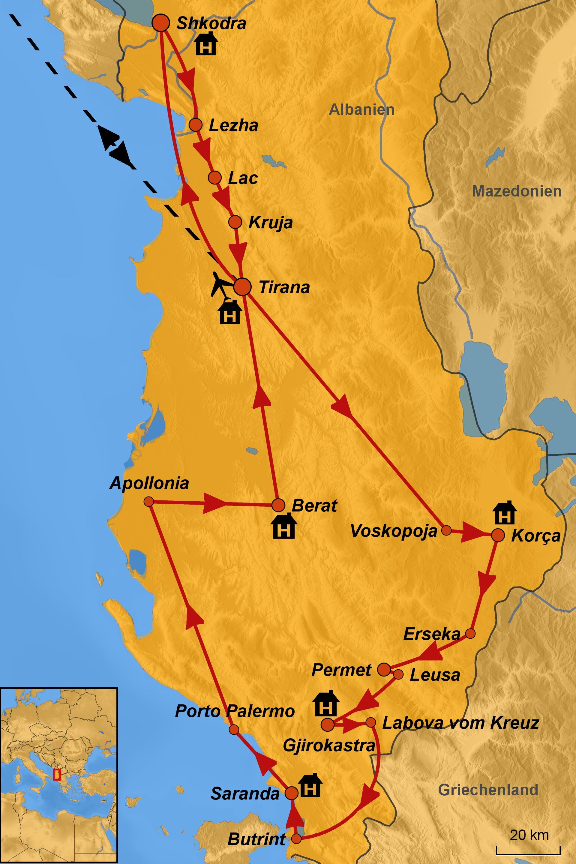 Karte Albanien.Pilgerreise Albanien Arche Noah Reisen