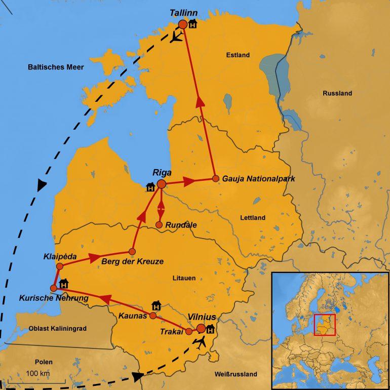 Stepmap-karte, Baltikum, Zubucherreise