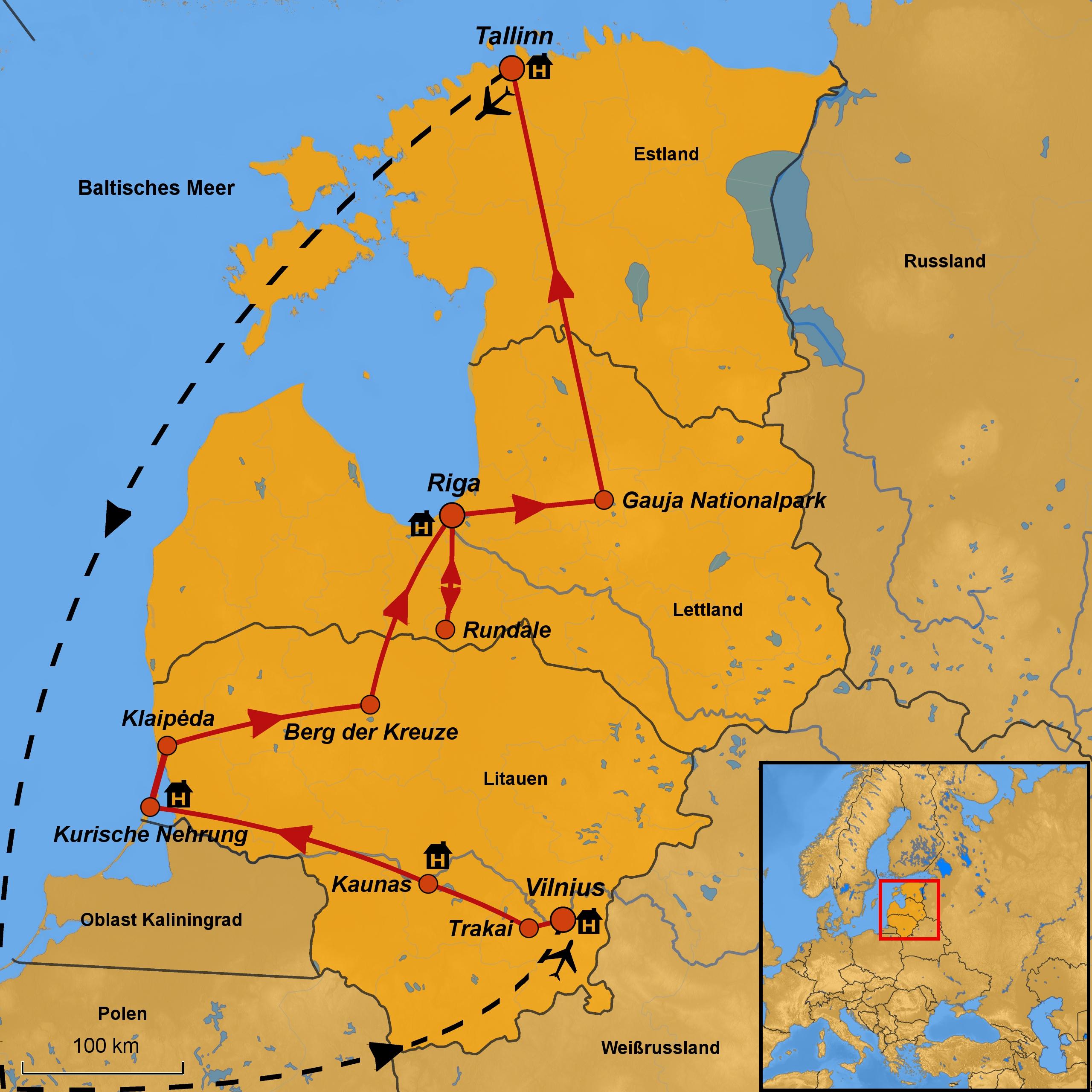Kurische Nehrung Karte.Rundreise Baltikum Arche Noah Reisen