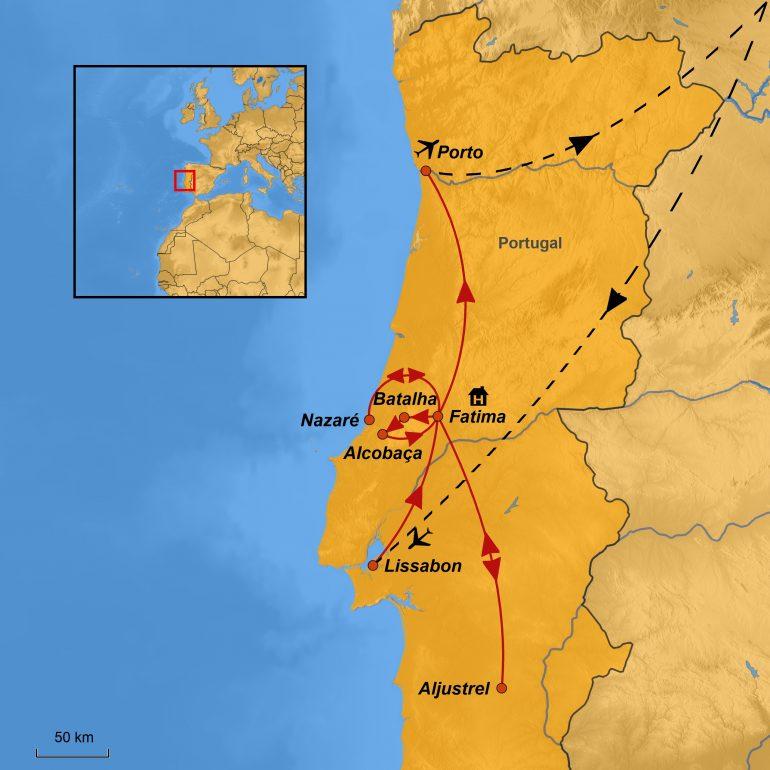 Stepmap-Karte, Pilgerreise Fatima 2019, Ihre Reiseroute