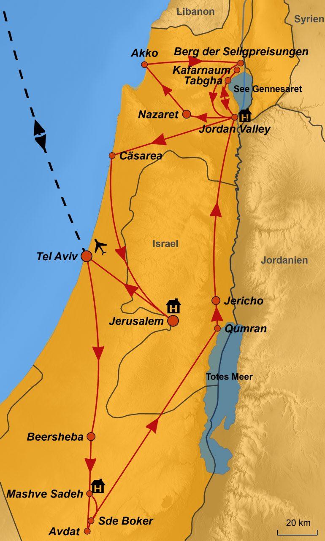 Stepmapkarte Israel Galiläischer Frühling, Karte Reisegebiet, Karte Reiseverlauf, Karte Israel