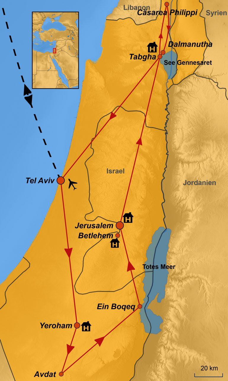Stepmap-Karte, Israel, Geistliche Reise 2019