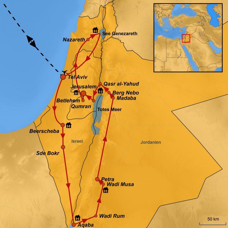 stepmap-karte, israel und jordanien