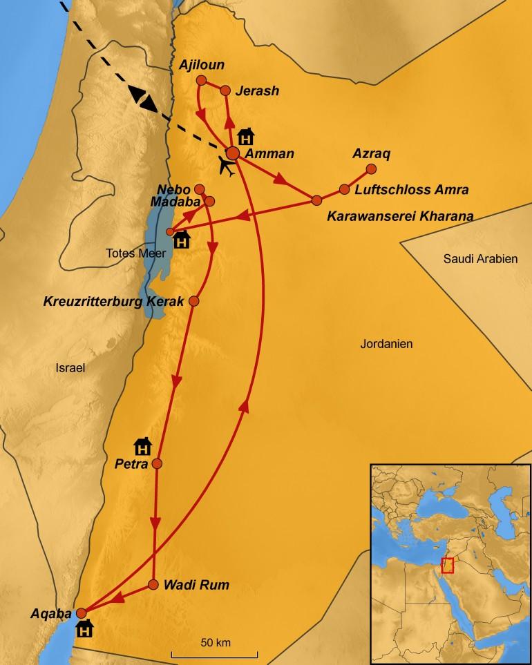Stepmap-Karte Jordanien - Ihre Reiseroute