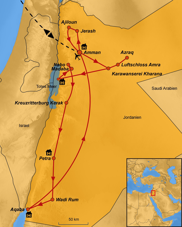 Jordanien Karte.Jordanien Rundreise 2019 Arche Noah Reisen