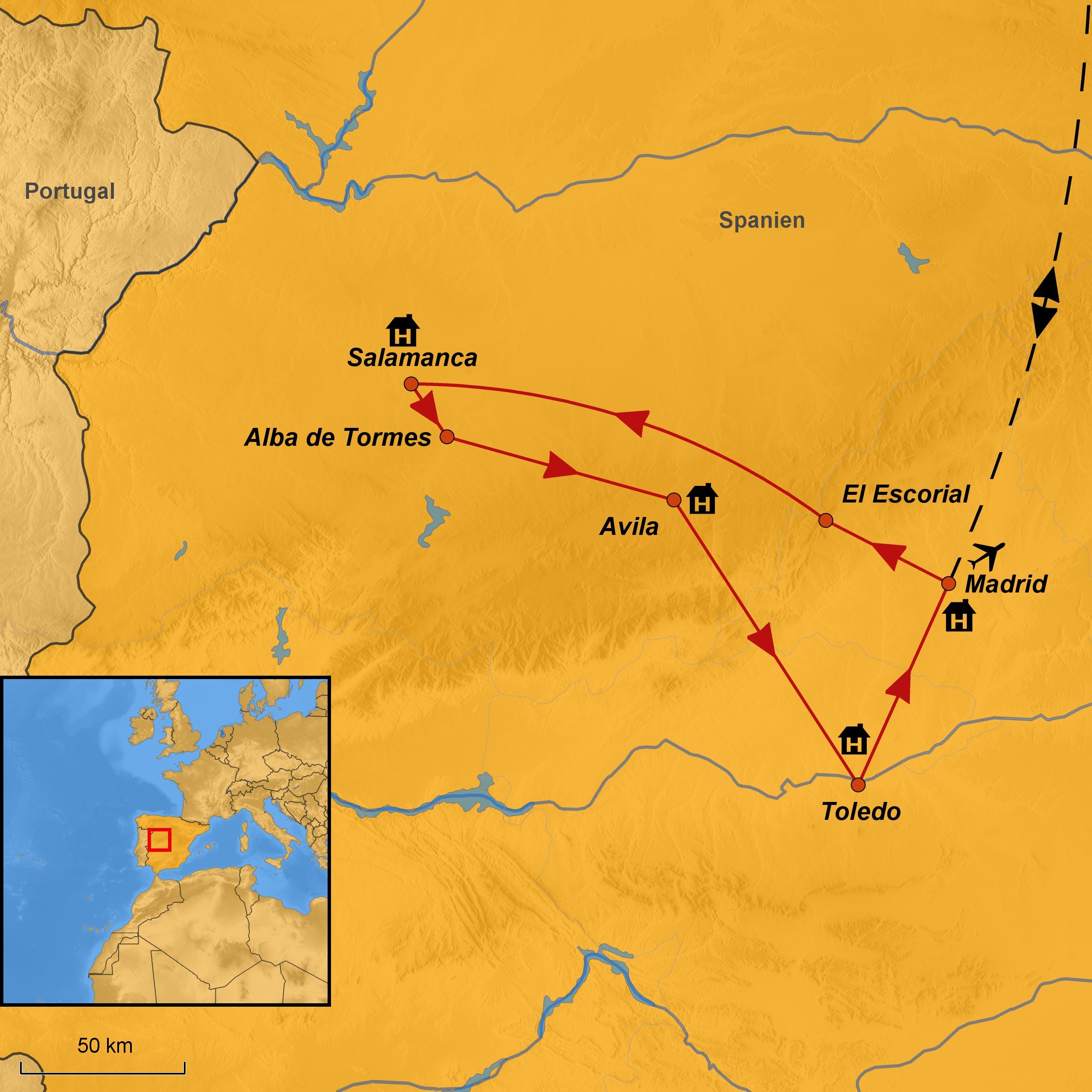 Salamanca Spanien Karte.Kastilien Pilgerreise Arche Noah Reisen