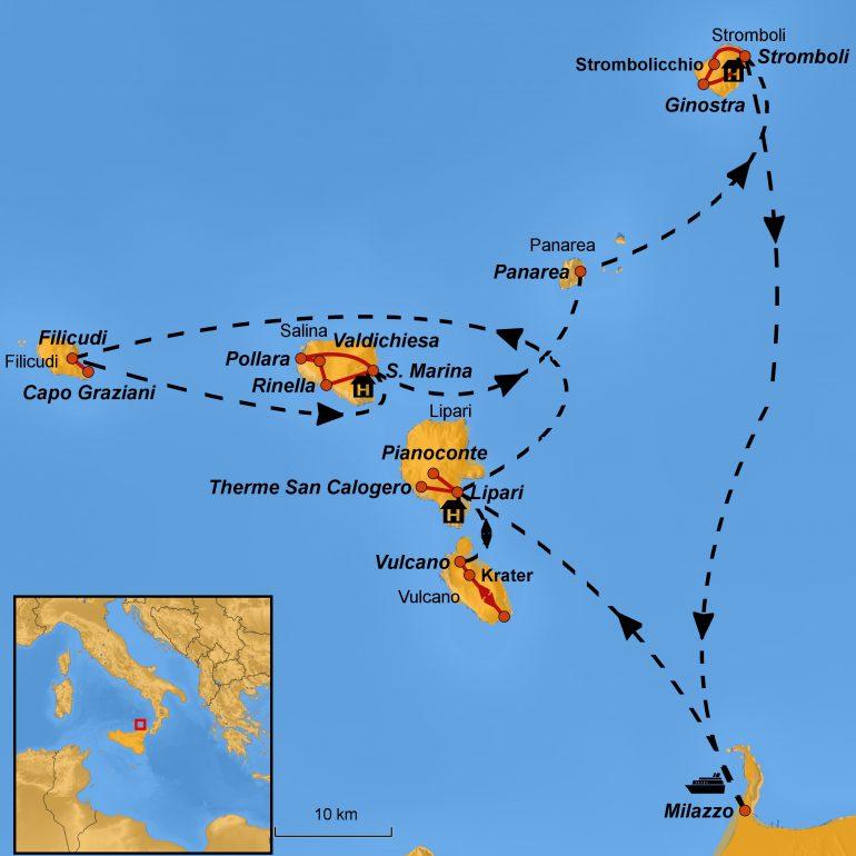 Stepmap-Karte Liparische Inseln, Ihre Reiseroute, Arche Noah Reisen