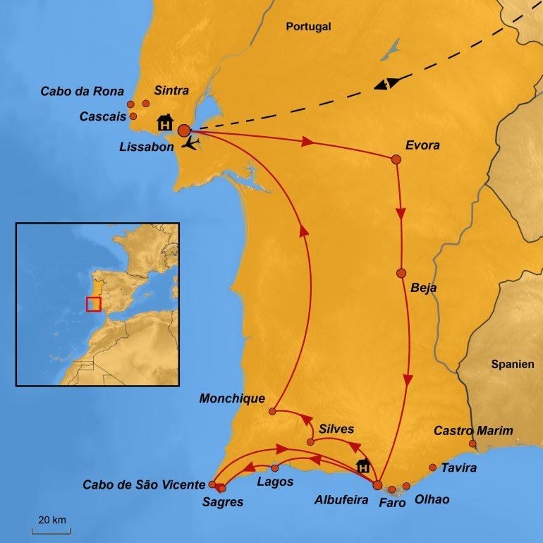 Stepmap Karte, Lissabon und Algarve