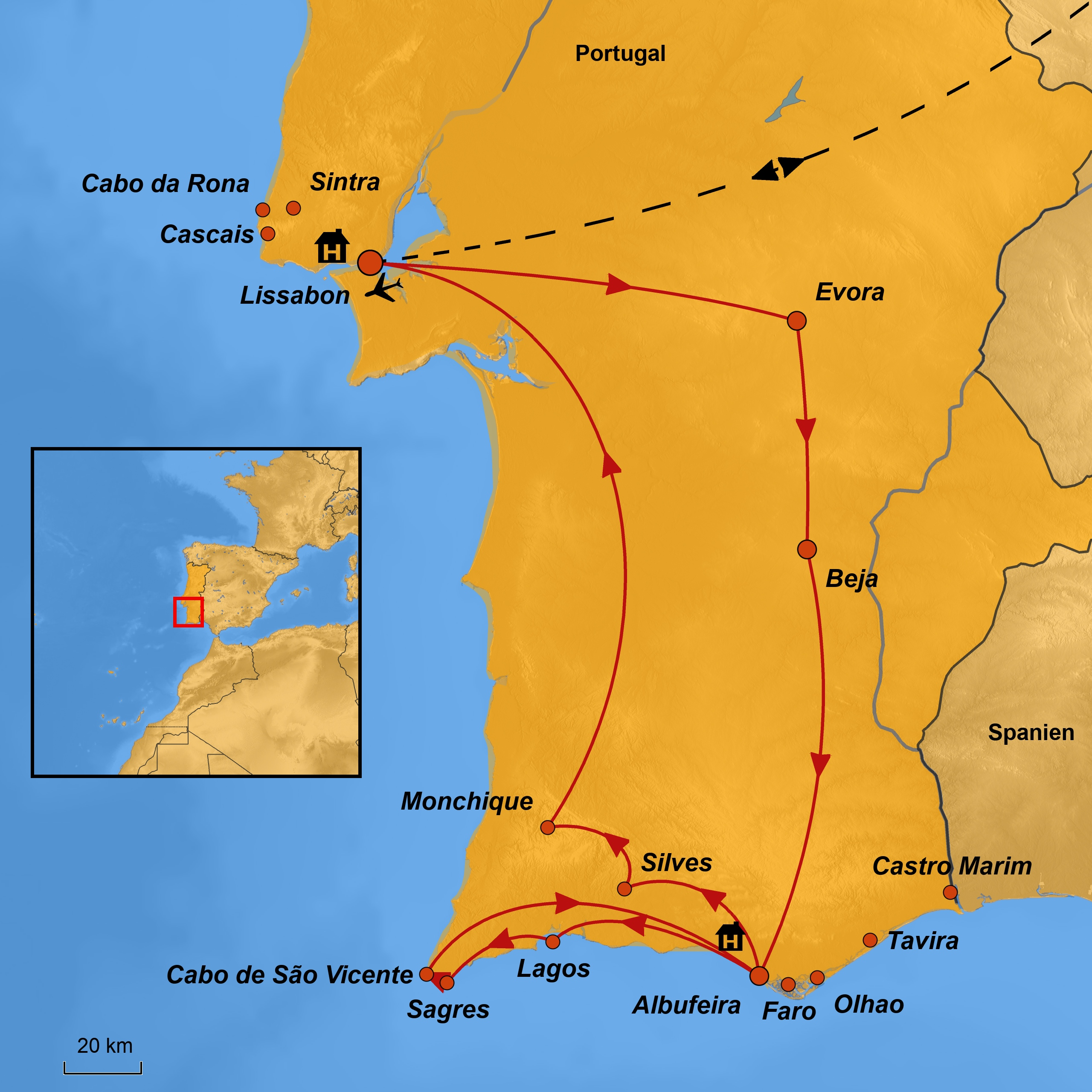 Flughafen Algarve Karte.Reise Lissabon Und Algarve In Einer Gruppe Arche Noah Reisen