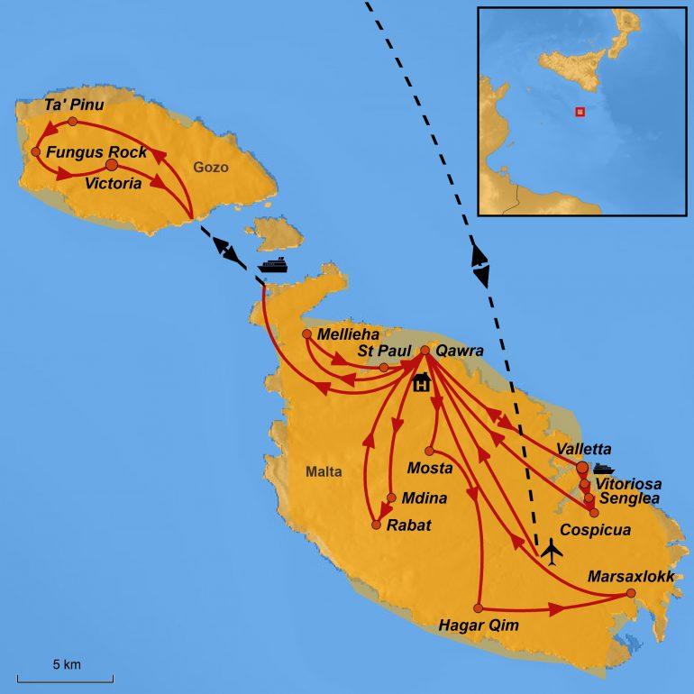 Reiseroute Malta - Paulinus Leserreise