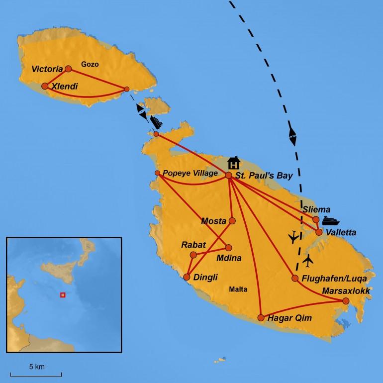 Stepmap-Karte Malta, Familienreise, www.arche-noah-reisen.de